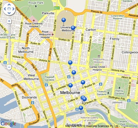 Melbourne Bike Share stations
